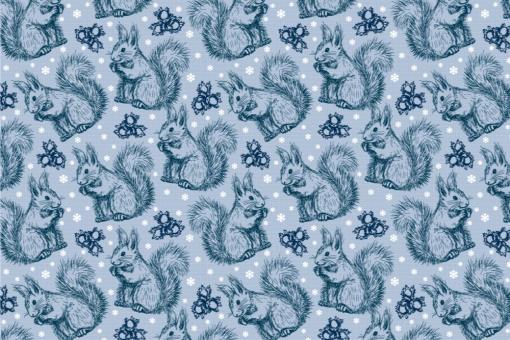 Schnee-Eichhörnchen - Türvorhang-Stoff Eisblau