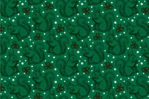 Schnee-Eichhörnchen - Türvorhang-Stoff Tannengrün