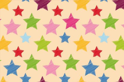 Colourful Stars - Türvorhang-Stoff Hellbeige