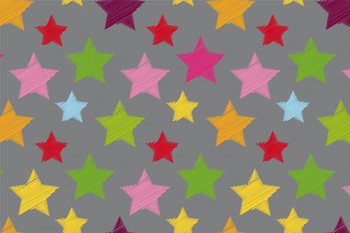 Colourful Stars - Türvorhang-Stoff Grau