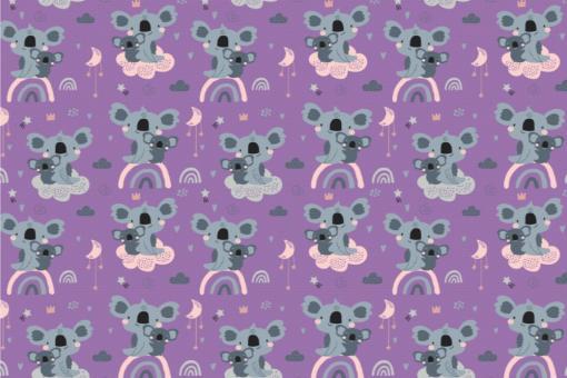 Koala-Bärchen - Türvorhang-Stoff Lila
