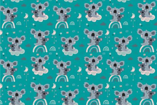Koala-Bärchen - Türvorhang-Stoff Türkis