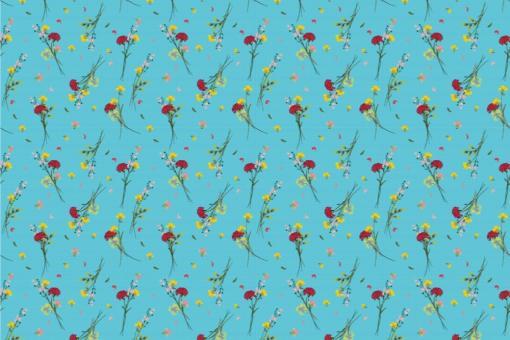 Wildblumen - Türvorhang-Stoff Blau