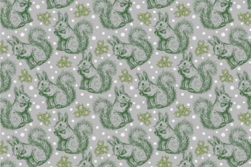 Schnee-Eichhörnchen - Türvorhang-Stoff Grau
