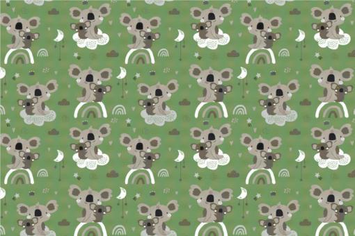 Koala-Bärchen - Türvorhang-Stoff Grün