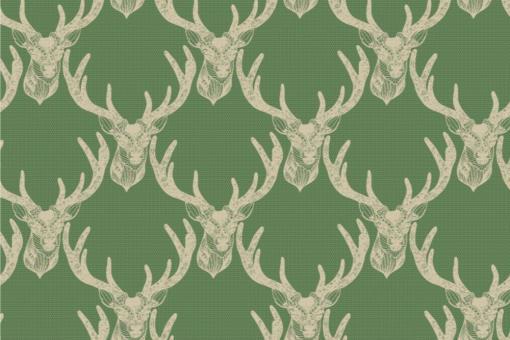 Hirschkopf Modern Style - Türvorhang-Stoff Jägergrün