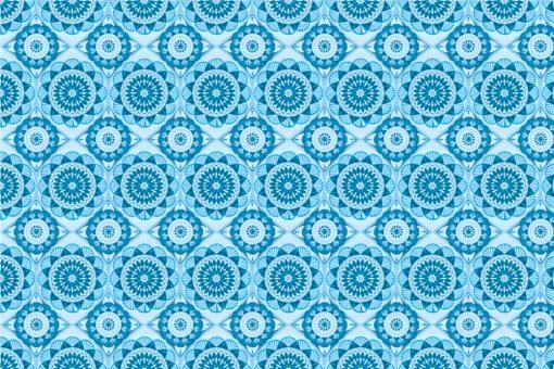 Frottee mit Fleece - Mandala Flor Hellblau/Blau