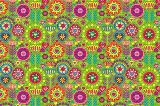 Frottee mit Fleece - Hippie-Blumen Grün