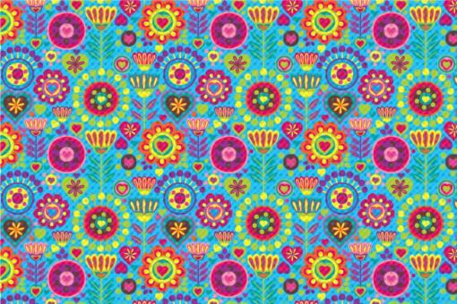 Frottee mit Fleece - Hippie-Blumen Hellblau