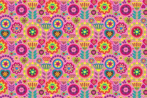Frottee mit Fleece - Hippie-Blumen Rosa