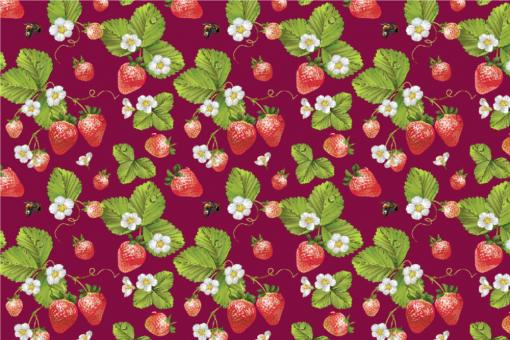 Erdbeerpflanzen - Outdoor-Stoff Plus Bordeaux/Grün