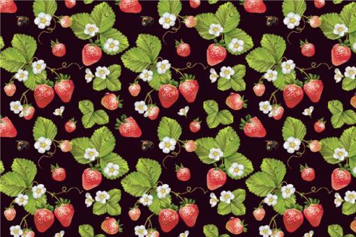 Erdbeerpflanzen - Outdoor-Stoff Plus Schwarz/Grün