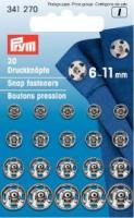 Annäh-Druckknöpfe 6-11mm silberfarbig - 20 Stück