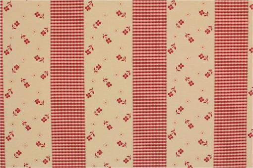 Zweiseitiger Jacquard - Blümchen & Karos - Rot
