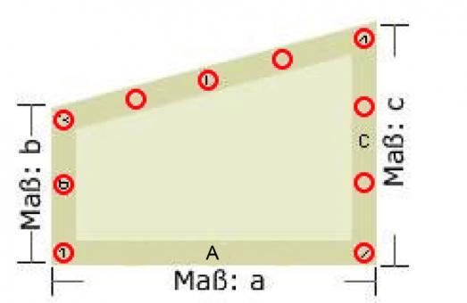 Fertig-Segeltuch Polyester - angeschn. Rechteck - a: 270 x b: 80 x c: 145 cm - Weiß
