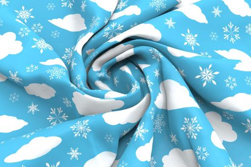 Schnee-Wolken - Türvorhang-Stoff Himmelblau