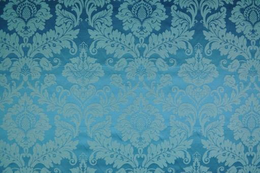 Outdoor-Dekostoff - Barock-Ornament - Blau